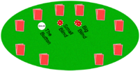 A picture of a texas hold'em poker table, with...