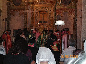 Syriac Orthodox Church - Liturgy being celebrated at Monastery of Saint Mark, Jerusalem.