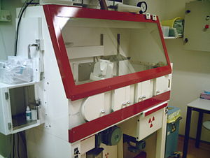 Hot cell - Hot cell in a hospital used for the preparation of Technetium-99m for use in single-photon emission computed tomography.