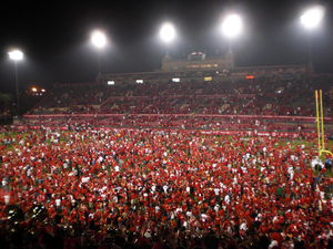 2009 Houston Cougars football team - Houston fans rush the field in celebration after defeating Texas Tech