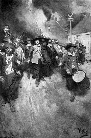 Nathaniel Bacon (Virginia colonist and rebel) - The Burning of Jamestown by Howard Pyle, c. 1905