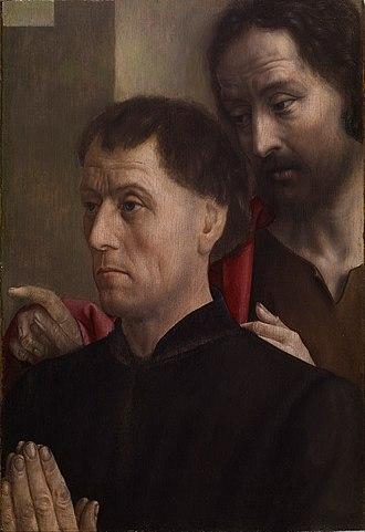 Hugo van der Goes - Portrait of a Man at Prayer with St John the Baptist