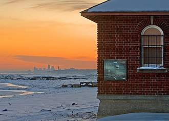 Bay Village, Ohio - Winter view of Cleveland's skyline from Huntington Beach