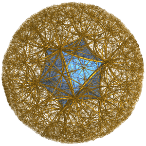 Icosahedral honeycomb - Honeycomb seen in perspective outside Poincare's model disk