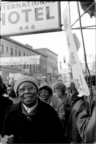 Peoples Temple in San Francisco - Members of Peoples Temple at 1977 rally in San Francisco's Chinatown.