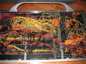 IBM 402 Accounting Machine plug-board wiring. ...