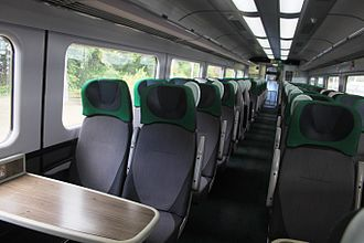 Great Western Railway (train operating company) - Interior of a refurbished HST standard class carriage in the green colour scheme introduced in 2015