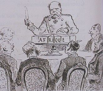 German West Africa - Cartoon of Bismark dividing Africa at the Berlin Conference, 1885