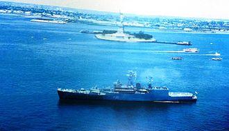 INS Godavari (F20) - INS Godavari entering New York harbour in July 1986.