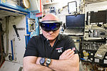 ISS-46 Scott Kelly with HoloLens in the Destiny lab.jpg