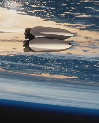 Interplanetary spaceflight - Rendering of an ITS tanker (top) transferring propellant to an Interplanetary Spaceship (bottom) in Earth orbit.