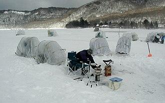 Ice fishing - Snail shelters for wakasagi ice fishing on the Lake Ōno, near Mount Akagi, Maebashi, Gunma Prefecture, Japan.
