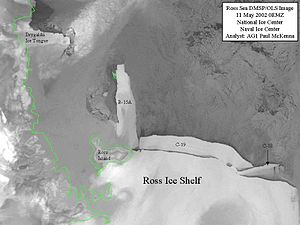 Iceberg C-19 - Iceberg C-19 breaking off from the Ross Ice Shelf, 11 May 2002, image:DMSP.