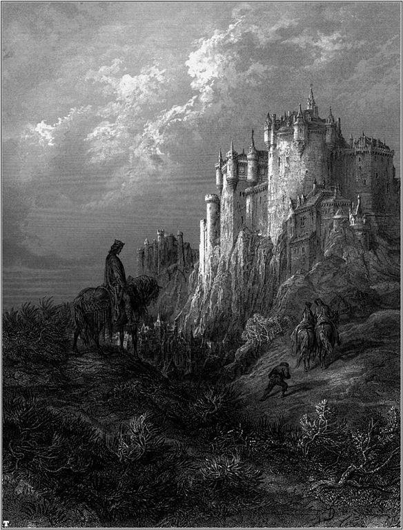 Le chateau de Camelot, siège des chevaliers de la table ronde vue par Gustave Doré en 1867.