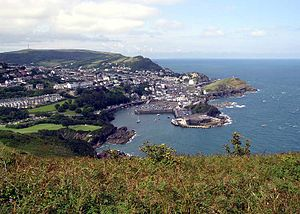 North Devon - Ilfracombe, seen from 447 feet (136 metres) above. The viewpoint (Hillsborough) is part of the South West Coastal Path