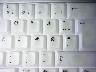 Ø - Danish keyboard with keys for Æ, Ø, and Å. On Norwegian keyboards the Æ and Ø switch places.