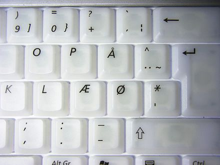 Danish keyboard with keys for AE, O, and A. On Norwegian keyboards, the AE and O are swapped. Illuminated keyboard 2.JPG