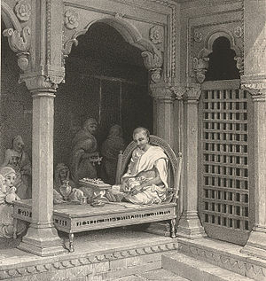 James Prinsep - A Preacher Expounding The Poorans. In The Temple of Unn Poorna, Benares. Lithograph by Prinsep (1835)