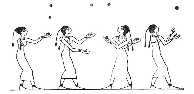 illustration of Egyptian jugglers from tomb 15 at Beni Hassan - History of Ball Sports
