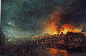 Granville, Manche - The burning of Granville by the Vendéens, painting by Jean-François Hue.
