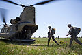 Indian Army paratroopers with the 50th Independent Para Brigade and U.S. Army paratroopers with the 82nd Airborne Division's 1st Brigade Combat Team load a CH47 Chinook helicopter for a training jump in 2013.jpg