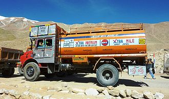 Indian Oil Corporation - An Indian Oil fuel truck on way to Ladakh