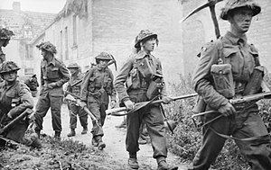 British Army during the Second World War - Infantrymen of the 6th Battalion, Royal Scots Fusiliers in the village of St. Mauvieu-Norrey, France during Operation Epsom, 26 June 1944.