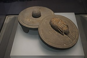 Qichun County - Inkstone with three legs and a bird cover. Eastern Han Dynasty. Excavated at Ganyuzui tomb, Qichun.