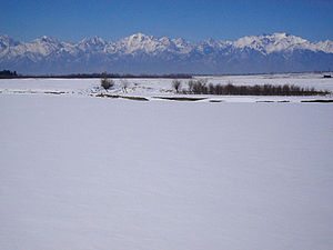 Tunkinsky National Park - Irkut River, Tunkinsky District, with Eastern Sayan Mountains in distance