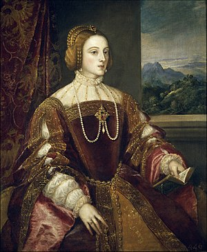 Antonio de Cabezón - Isabella of Portugal, queen consort of Charles V, Cabezón's first patron. Portrait by Titian.