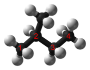 Ball-and-stick model of isopentane (common name) or 2-methylbutane (IUPAC systematic name)