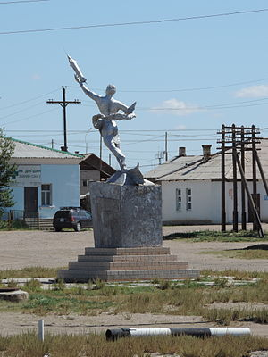 Choir, Mongolia - A sculpture commemorating the first Mongolian cosmonaut, Jügderdemidiin Gürragchaa, in Choir