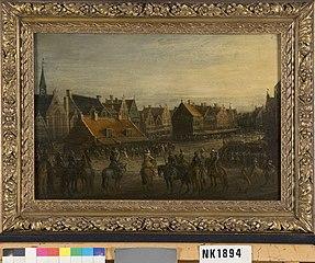 Het afdanken der waardgelders door prins Maurits te Utrecht,
