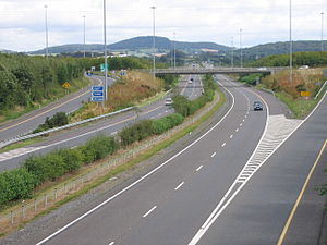 N8 road (Ireland) - J17 on M7; the start/end point of the N77. This was the start point of the old N8 single carriageway. The M8 now begins at junction 19 further west of Portlaoise following the opening of the M7/M8 in May 2010