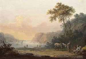 Johann Jacob Tischbein - Riverview at Sunset (1773)