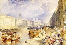 Watercolour painting of Nantes, with large buildings and many small boats
