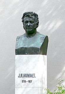Die Hummel-Büste hinter dem Deutschen Nationaltheater Weimar (Quelle: Wikimedia)