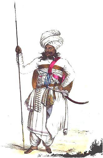 Bhuj - A Jadeja Chief in Kutchi attire during reign of Deshalji II : A sketch drawn in 1838