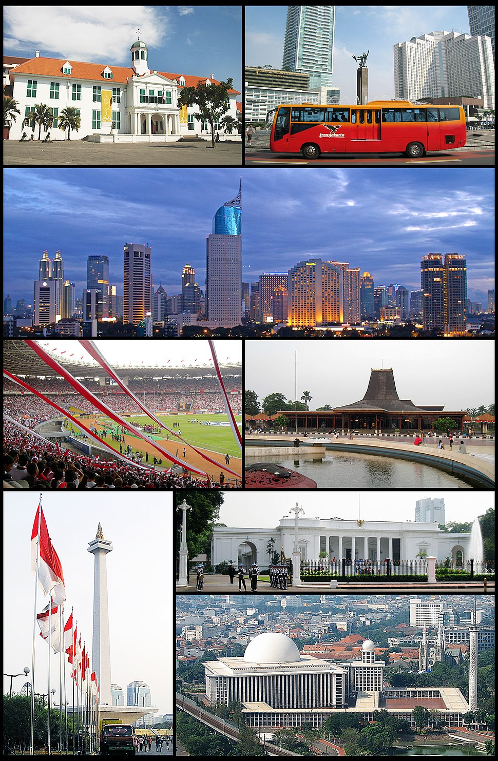 From top, left to right: Jakarta Old Town, Hotel Indonesia Roundabout, Jakarta Skyline, Gelora Bung Karno Stadium, Taman Mini Indonesia Indah, Monumen Nasional, Merdeka Palace, Istiqlal Mosque and Jakarta Cathedral