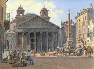 Pantheon, Rome - An 1836 view of the Pantheon by Jakob Alt, showing twin bell towers, often misattributed to Bernini.