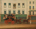 """James Pollard - The London-Manchester Stage Coach, """"the Peveril of the Peak,"""" outside the Peacock Inn, Islington - Google Art Project.jpg"""