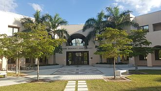 New College of Florida - The Jane Bancroft Cook Library taken from under the bell tower. Nov 23.