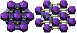 Jarosite - Crystal structure of jarosite Color code:  Potassium, K: purple; Sulfur, S: olive; Iron, Fe: violet-blue; Cell: sky-blue
