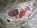 Jasper pebbles in quartzite (Lorrain Formation, Paleoproterozoic, ~2.3 Ga; Ottertail Lake Northeast roadcut, near Bruce Mines, Ontario, Canada) 4 (33831632368).jpg