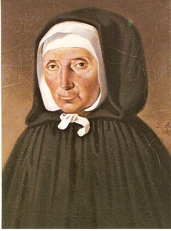 The French Saint Jeanne Jugan (1792-1879) founded the Little Sisters of the Poor who specialise in care for the aged. Jeanne Jugan.jpg