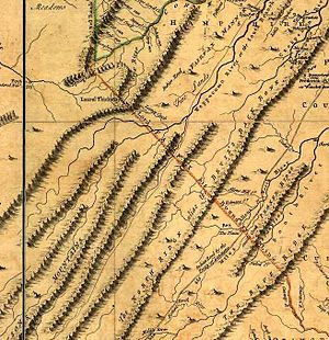 """Fairfax Line - Detail from the """"Fry-Jefferson map"""" of Virginia (1751) showing """"Lord Fairfax his Boundary Line""""."""