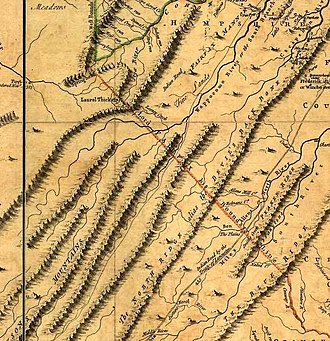 "Fairfax Line - Detail from the ""Fry-Jefferson map"" of Virginia (1751) showing ""Lord Fairfax his Boundary Line""."