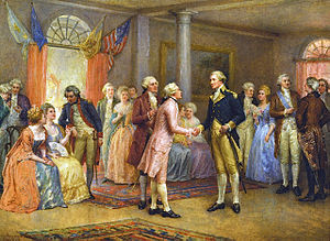Painting of Washington shaking hands with the Marquis de Lafayette in a room full of people