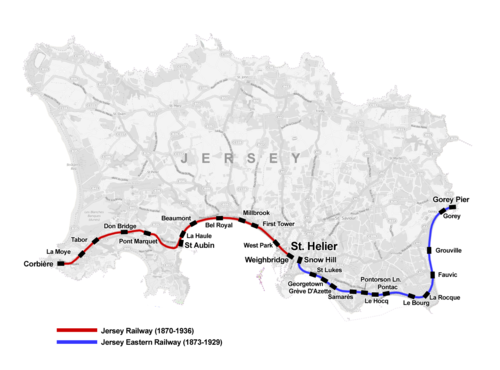 Map of the former railway lines of Jersey Jersey Railway map.png