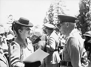 Jessie Vasey - An investiture ceremony was held at Government House where service personnel received awards from the Governor-General of Australia, Field Marshal Prince Henry, Duke of Gloucester. Mrs Jessie Vasey, who received the CB, CBE, and bar to the DSO awarded to her late husband, talks with the Governor of Victoria, Major General Sir Winston Dugan.